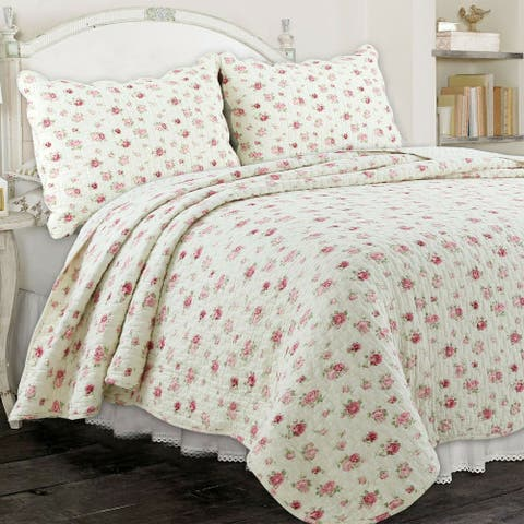 Copper Grove Madeline Pink Rose Country Floral 3-piece Quilt Set