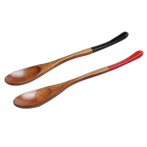 "7.3"" Wooden Spoons Wood Soup Spoons for Mixing Stirring Cooking 2pcs - Wood Color - 7.3""x1.3""(L*W)"