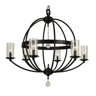"Framburg 1077 Compass 6 Light 33"" Wide Pillar Candle Chandelier"