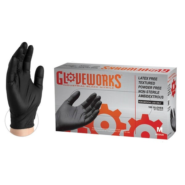 GLOVEWORKS Black Nitrile Ind Latex Free Disposable Gloves (Box of 100) - Medium