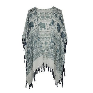 Blue Elephant Boho Chic Cotton Kimono Vest w/Tassels