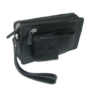 Winn International Men's Leather Slimline with Wrist Strap Man Bag, Black