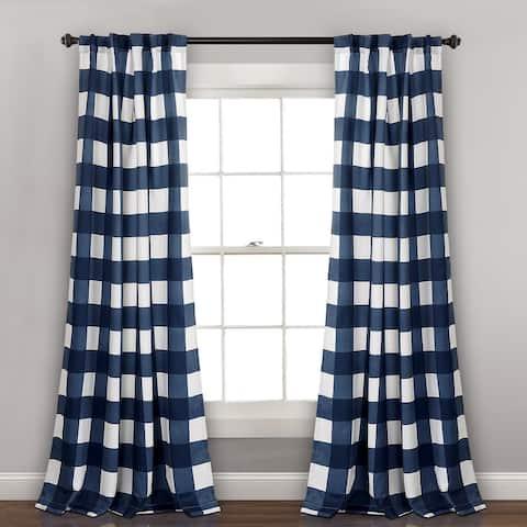 Lush Decor Kelly Checker Room Darkening Window Curtain Panel Pair