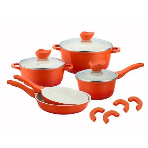 Culinary Edge 26608 8 Piece Non-Stick Die Cast Aluminum Cookware Set, Orange