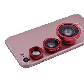 3 in 1 Phone Notebook Fisheye Super Wide Angle Macro Clip on Camera Lens Kit Red