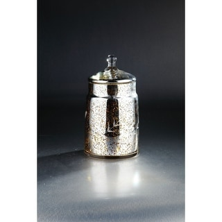"""Link to 13"""" Silver and Gold Hand Blown Mercury Glass Jar with Flower Accent and Finial Lid Similar Items in Accent Pieces"""