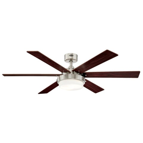 Westinghouse 7205100 Alloy II 2 Light 6 Blade LED Hanging Ceiling Fan with Reversible Blades, Light Kit and Downrod Included