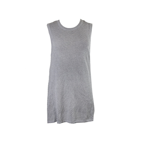 a8ca8f30cea7 Shop Vince Camuto Light Grey Sleeveless Deliacte Pointelle Sweater ...