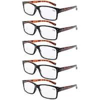 5-pack Spring Hinges Vintage Reading Glasses Men Readers Black Frame Tortoise Arms +1.75