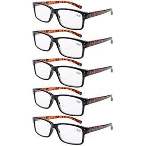 Men 5-pack Spring Hinges Vintage Reading Glasses Readers Black Frame Tortoise Arms +2.5