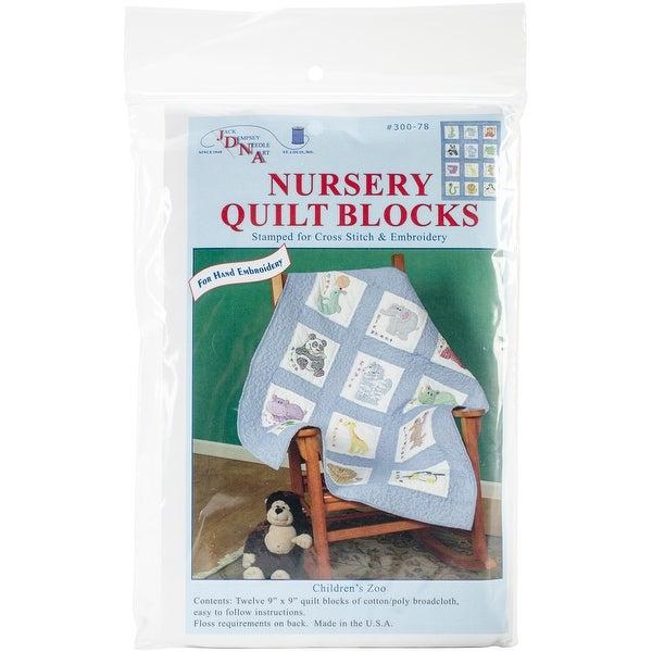 """Stamped White Nursery Quilt Blocks 9""""X9"""" 12/Pkg-Children's Zoo"""