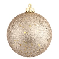 "4"" Champagne Sequin Ball Drilled 6/Bag"
