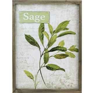 "15.75"" Decorative Sage Herb Wood Framed Wall Hanging Plaque"