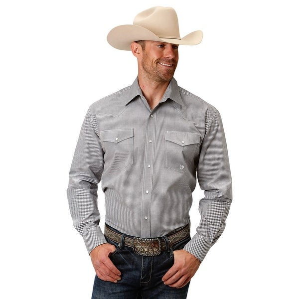 569993213 Shop Roper Western Shirt Men Long Sleeve Plaid Snap Gray - Free Shipping  Today - Overstock - 28051129