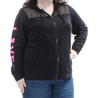 MATERIAL GIRL $29 Womens New 1088 Black Eyelet Jnr Hooded Sweater 3X Plus B+B