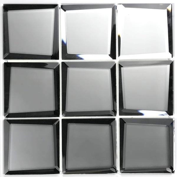 "Miseno MT-WHSREM0303-SI Reflections - 3"" Square Wall Mosaic Tile - Matte Glass Visual - Silver"