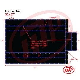 Xtarps - 20' x 27' Flatbed Truck Tarp - Light Weight Lumber Tarp with 6' Drop