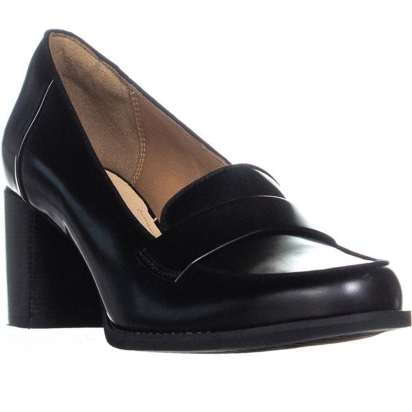 b8f94209021 Shop Clarks Tarah Grace Block Heel Penny Loafer Heels, Black - Free ...