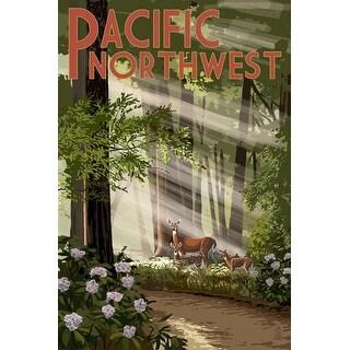 Pacific Northwest - Deer in Forest - LP Artwork (Art Print - Multiple Sizes)