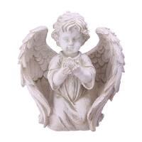 """10"""" Ivory Kneeling Cherub Angel with Dove Outdoor Patio Garden Statue"""