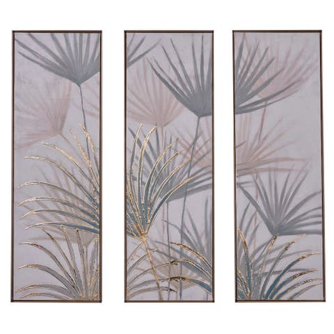 """Tall Neutral Multi Color Botanical Leaves Canvas Wall Art Panels Set Of 3 16"""" X 47"""""""