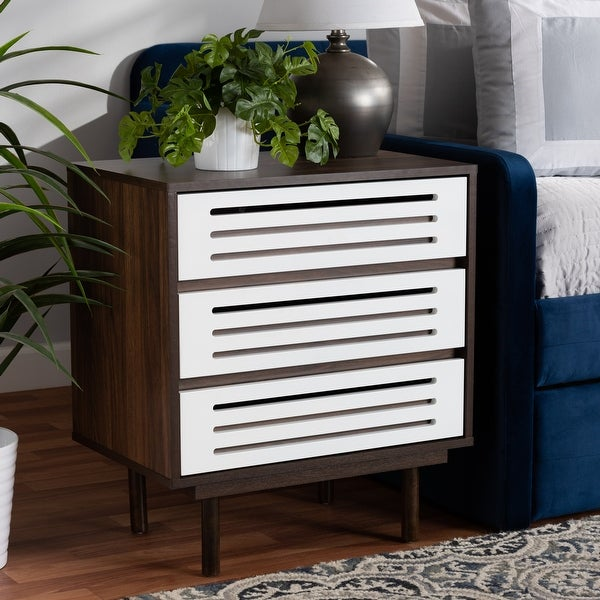 Meike Mid-Century Modern Two-Tone 3-Drawer Nightstand. Opens flyout.