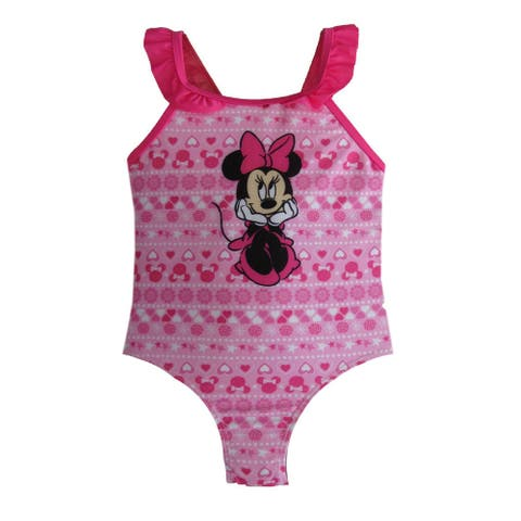 Disney Little Girls Pink Minnie Mouse Swimsuit
