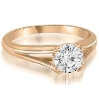 1.00 cttw. 14K Rose Gold Elegant Split-Shank Solitaire Diamond Engagement Ring