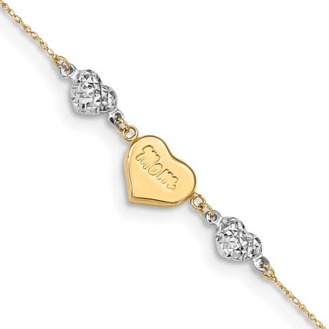 """14k Two-tone Diamond-cut Puffed Hearts MOM Anklet, 10"""" w/1in Extender"""