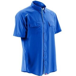 Huk Men's Next Level Royal Blue Small Button Down Short Sleeve Shirt