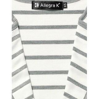 Allegra K Ladies Notched Lapel Button Decor Striped Blazer