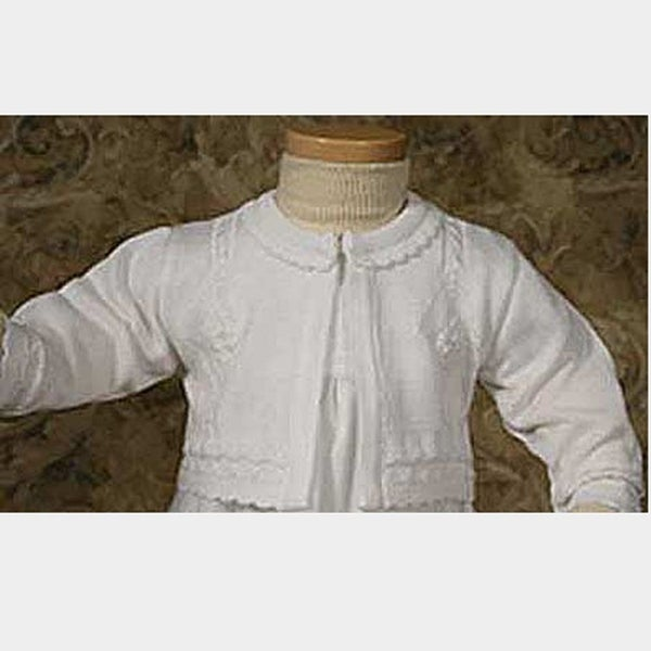 Baby Girls Pretty White Knit Scalloped Edge Christening Sweater 3M-24M