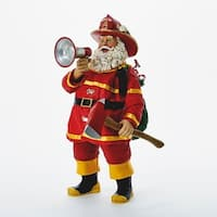 "11"" Fabriche ""Fire Fightin' Nick"" Fireman Santa Claus Christmas Table Top Figure"