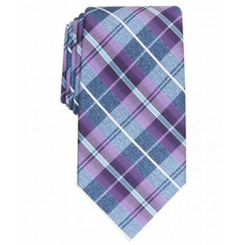 Perry Ellis Men's Dever Classic Plaid Tie Purple Size Regular