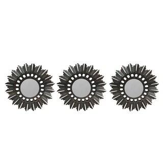 """Set of 3 Floral Sunburst Bronze Round Wall Mirrors 9.5"""""""