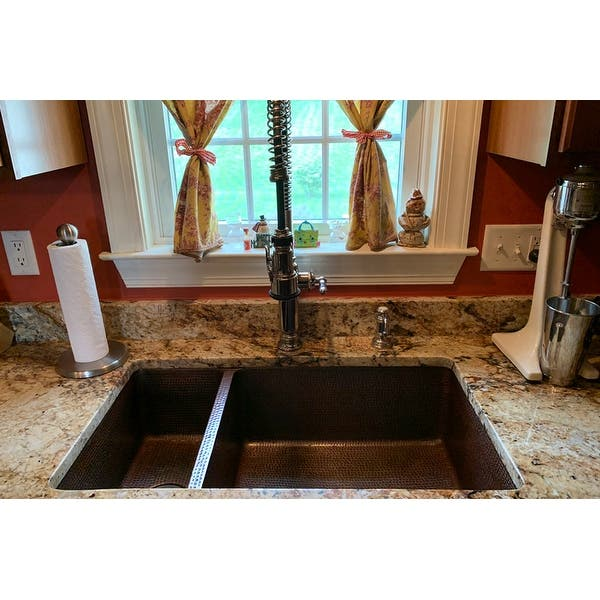 33 Copper Hammered 25//75 Double Bowl Farmhouse Kitchen Sink in Oil Rubbed Bronze