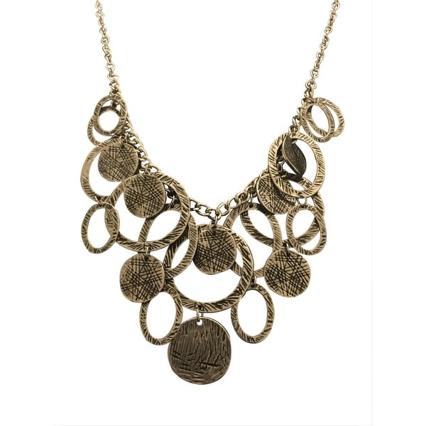 max & MO Etched Silver Rings Bib Necklace