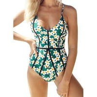 Cupshe Green Womens Size Large L Floral-Print One-Piece Swimsuit