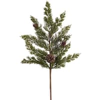 Club Pack of 12 Green and Brown Artificial Christmas Pine Sprays 25""