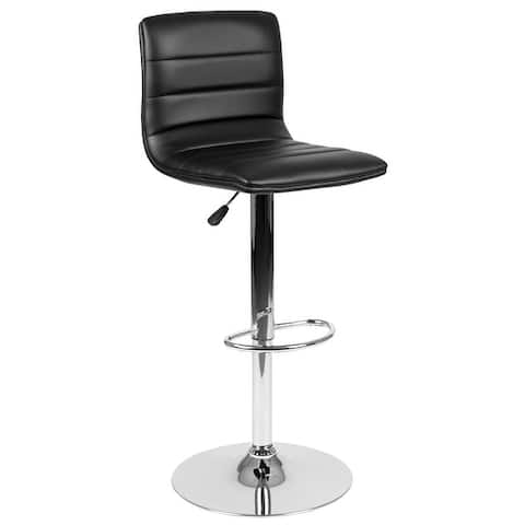 "Vinyl Adjustable Height Barstool w/ Horizontal Stitch Back & Chrome Base - 16""W x 19""D x 35"" - 44""H"