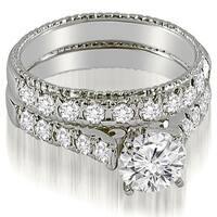 1.35 CT.TW Vintage Cathedral Round Cut Diamond Bridal Set - White H-I