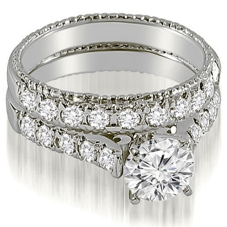 Link to 14K White Gold 1.50 CT Vintage Cathedral Round Cut Diamond Bridal Set Similar Items in Wedding Rings