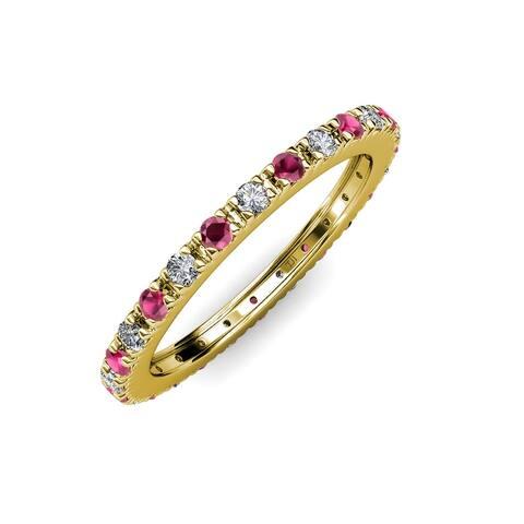 TriJewels Ruby Diamond 3/4 ctw French Set Eternity Ring 14K Gold