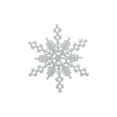 "SPC Ornament Snowflake 6.5"" 6pc Iridescent Glitter - White"