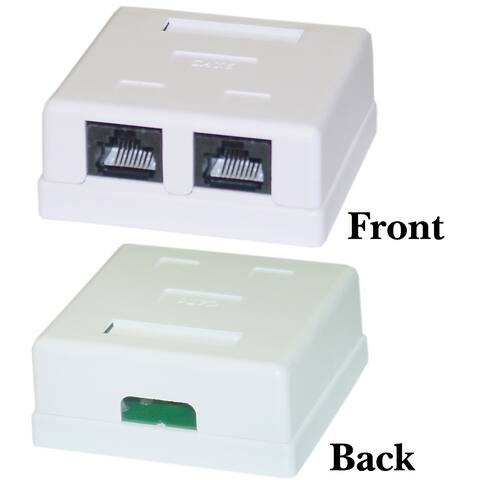 Offex Cat6 Dual Jack Surface Mount Box, Female, Unshielded - White