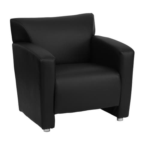 "LeatherSoft Chair with Extended Panel Arms - 31.25""W x 30""D x 31.25""H"
