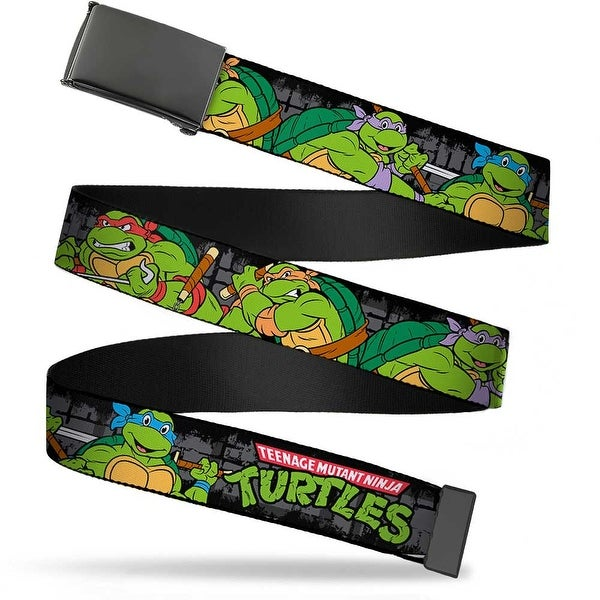 Blank Black Buckle Classic Tmnt Group Pose4 In Sewer Tmnt Logo Web Belt