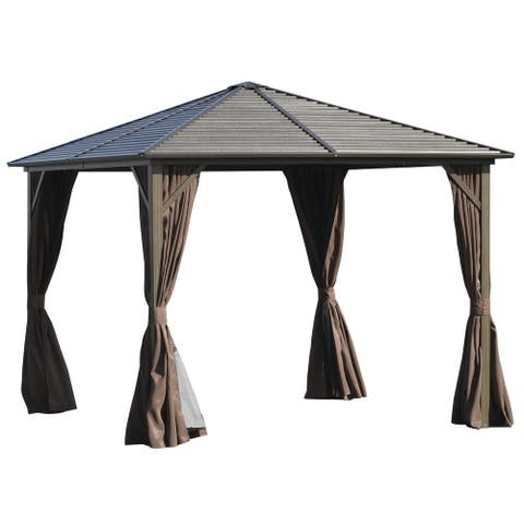 Outsunny 10' x 10' Aluminum Frame Hardtop Patio Gazebo with Mesh Nettings, Privacy Curtains, & Top Hook
