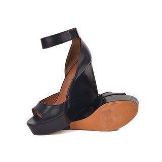 Givenchy Black Lock Strap Wedge Ankle Strap Heels