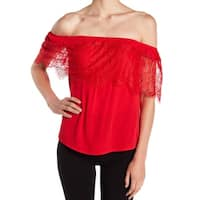 Socialite Red Womens Size Small S Lace Off-Shoulder Stretch Blouse